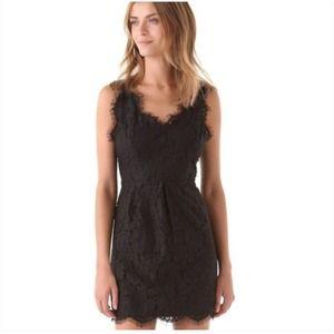 Joie Rori Black Lace Eyelash Sleeveless Mini Dress